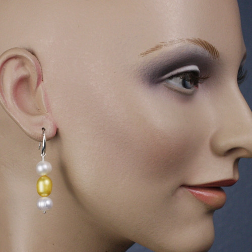 Mannequin View - White Freshwater Pearl and Gold Cultured Pearl on Silver Earwires (1245)