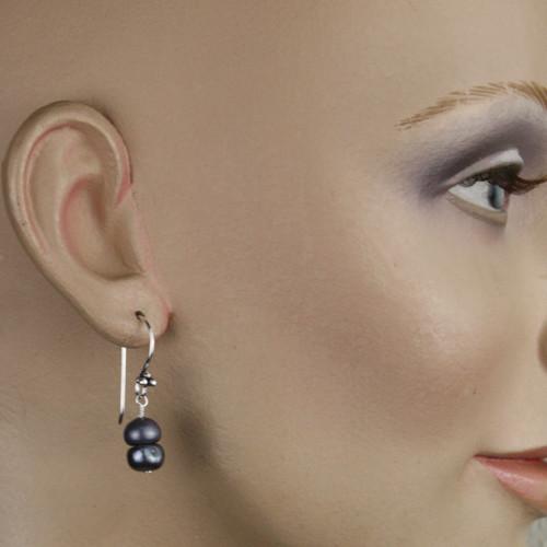 Mannequin View -Blue Freshwater Pearl Earrings (1252)