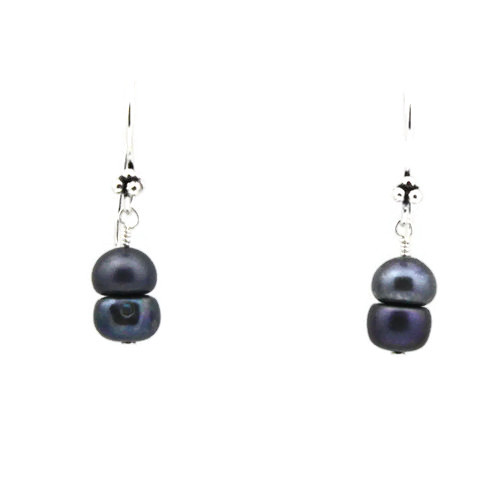 Center View -Blue Cultured Pearl Earrings (1252)