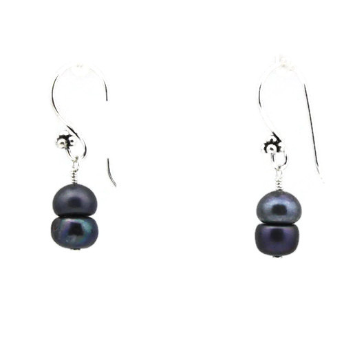 Right View -Blue Cultured Pearl Earrings (1252)
