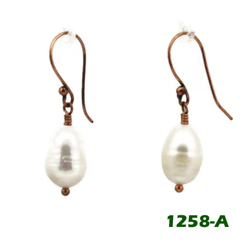 Left View - White Freshwater Pearl on Copper Earwires (1258)
