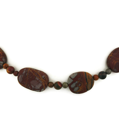 Back Detail view - Matte Red Creek Jasper Necklace (24 inches) (1317)