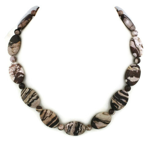 Front view - Brazilian Zebra Jasper on Antique Copper Necklace (1318)