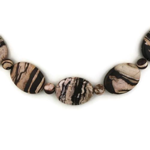 Front Detail view - Brazilian Zebra Jasper on Antique Copper Necklace (1318)