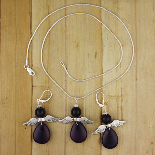Bamboo View - Amethyst Angel Earrings on Silver Earwires (1330) and Amethyst Angel Necklace on Sterling Silver (1331)