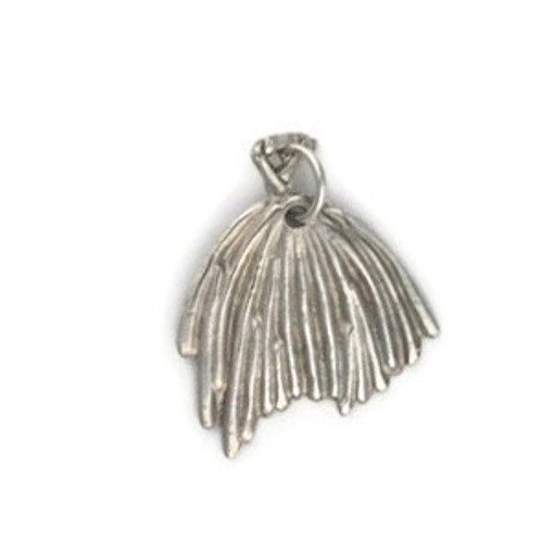 white View - Poppy Seedpod pendant made with .999 Fine Silver (0309) - front