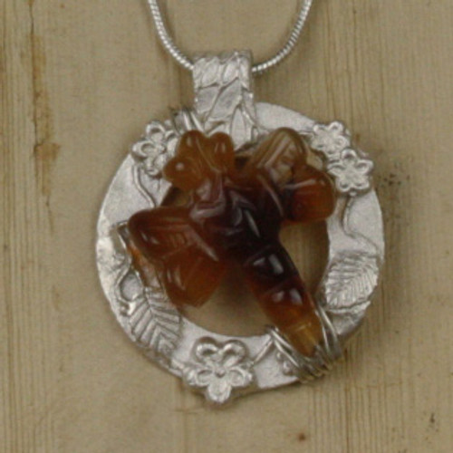 Bamboo View - Carnelian Dragonfly pendant with a .999 Fine Silver Frame (1347)