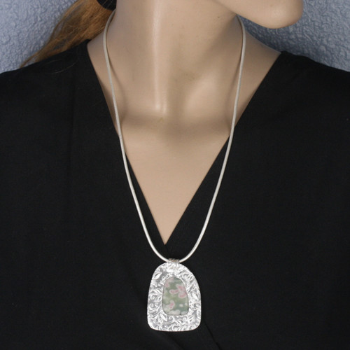 Mannequin View - Cherry Blossom pendant made with Sterling Silver (1350)