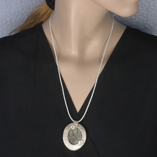 Mannequin View - Jasper & Roses pendant with a .999 Fine Silver Frame (1348)