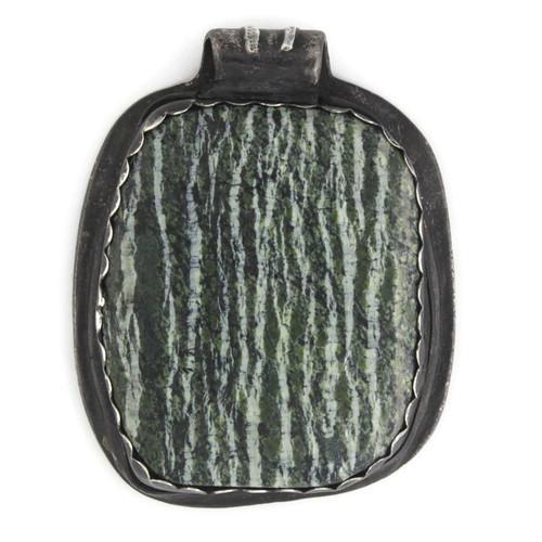 Back White View -  Fine Silver Seahorse with Green Zebra Jasper pendant (1352)