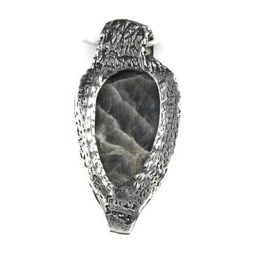 White View  Back -  Fine Silver Owl with Labradorite pendant (1363)