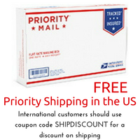 All US Domestic shipping is by the US Post Office Priority mail at no cost to the buyer. International customers can use the coupon code SHIPDISCOUNT for a discount.