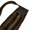 Bombshell Brunette Real Human Remy Hair Wrap Ponytail Side View