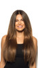 Model with Beverly Hills Brunette Cashmere Hair Clip In Extensions Front View