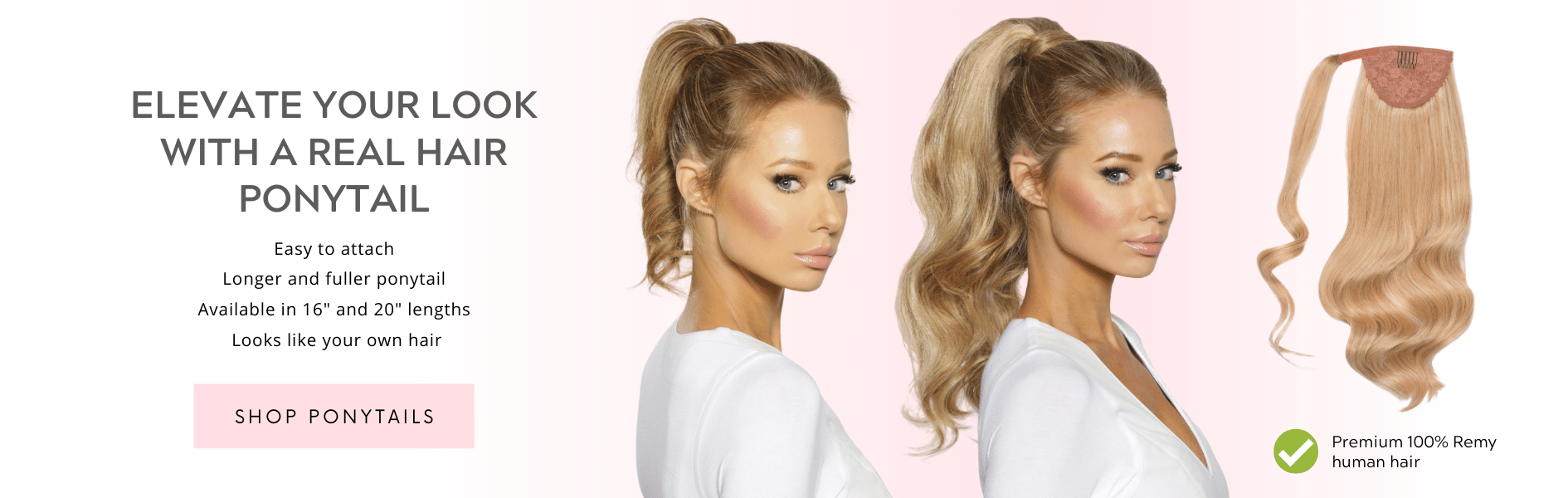 Elevate you look with a real hair ponytail. Shop Cashmere Hair ponytails!