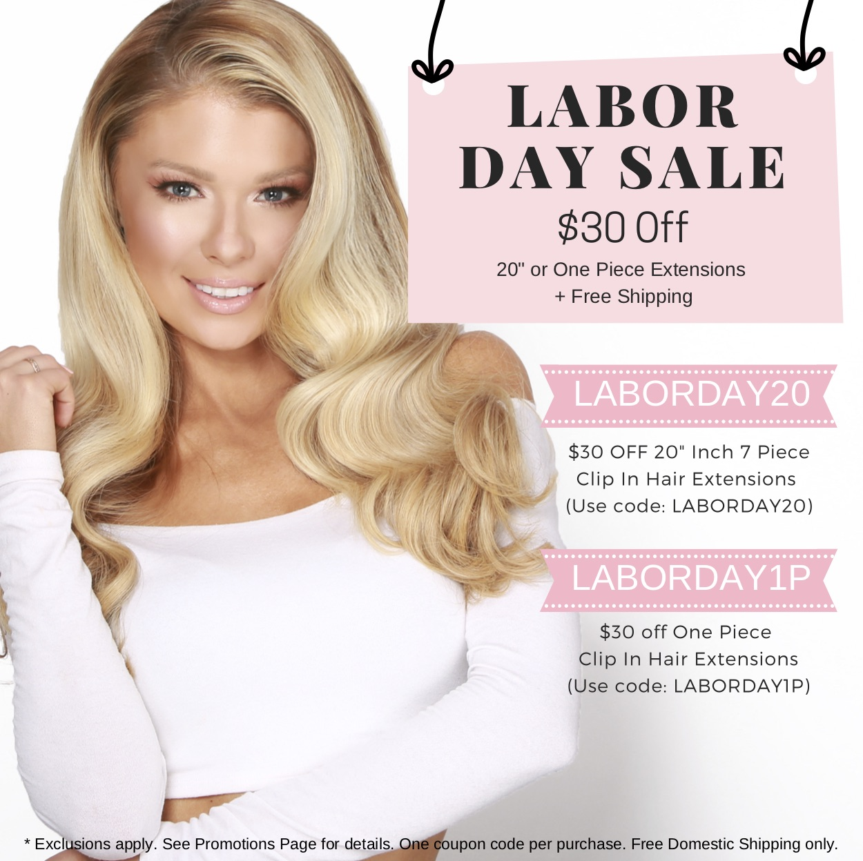 "Labor Day Sale $30 off 20"" Or One Piece Extensions"