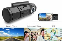 Dual Rotating Night Vision Dashboard Camera w/ Motion & Crash Sensor