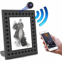 Picture Frame Hidden Camera w/ Night Vision, 1 Year Battery & WiFi Remote Viewing