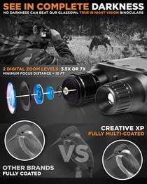 "Digital Recording Night Vision Binoculars  7x Optical Zoom w/ 4"" Screen"