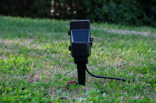 Outdoor Stake Timer Electrical Outlet Hidden Camera w/ DVR