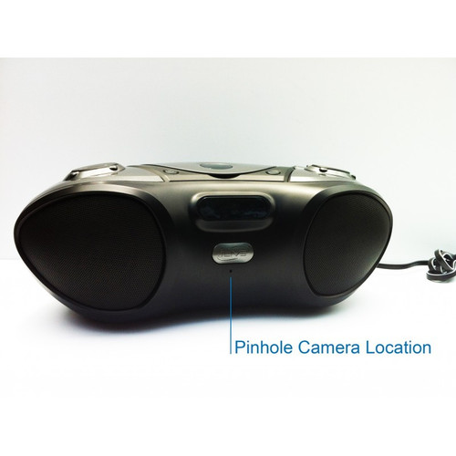 Boombox Hidden Camera w/ Night Vision, DVR & WiFi Remote View