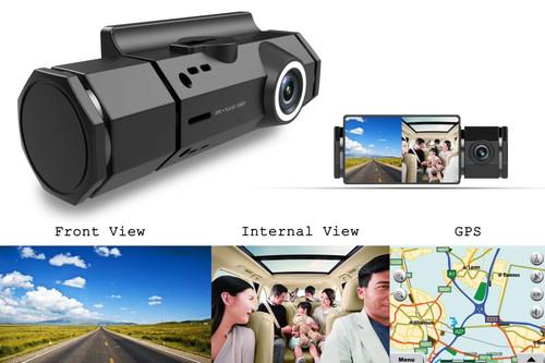 Dual Rotating Night Vision Dashboard Camera w/ Motion & Crash Sensor