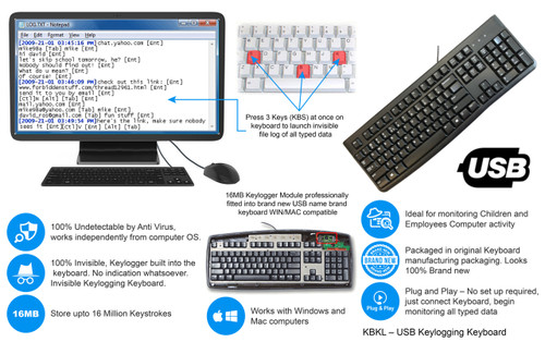 Keyboard w/ built in Undetectable Keylogger