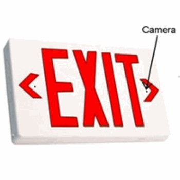 Exit Sign Hidden Camera Record Stunning 720p Hidden VideoIt looks exactly like an ordinary item, but it also contains a spy camera secretly built inside.. This device supports for up to 32GB. Micro SD Cards and sports full color high quality video and full motion detection. Hiding within this ordinary looking product is powerful camera with a wide viewing angle recording at 720p HD at 1280x720 full screen resolution. Youll be able to see a large viewing area of 80 degrees wide and 70 degrees tall, edge to edge without missing a thing.  All the video is recorded in AVI format using h.264 compression into time/date stamped files for easy saving, emailing or playback on your computer. When using motion detection recording, you'll record about 2-4 days per 8GB of SD storage or 30 minutes of video per GB. Of course all is dependant upon the amount of motion. The video is all recorded as 1 minute clips for easy transferring and maximum performance. 110V Powers Exit Sign & RecorderHighly recommend an electrician to instal directly into your electrical power system. Once connected, take out of the box and instantly start recording motion activated video. Record Weeks Of HD Video Onto A Removable SD CardWhile this comes with an 8GB SD card using an optional 32GB SD card, youll get about 16+ hours of continuous video, or with motion activation mode only, you'll never run out of video memory. The choice is yours. With adjustable frame rate controls, its easy to capture weeks to  months of hidden videos. Since normal motion that your TV plays back at is at 30 FPS, recording at a lower FPS (frames per second) will enable you to store much more footage on the SD card. Additionally, youll be able to hot-swap SD cards by easily removing a filled up one, and replacing it with a fresh blank card. This way youll quickly be able to bring the footage back to your computer for review without ever missing important video.Time/Date Stamp Provides Unquestionable Proof All of the video and recorded video files have