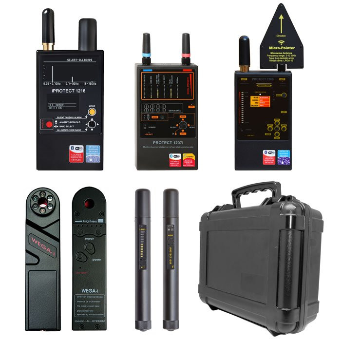 P.I. Complete Detection and Counter Surveillance Kit No job is too small or too big with this detection kit on hand. Comes standard and nicely organized in tactical case including the iProtect DD1216, DD1207, DD1206, DD1200 and DD12051. Mission ready, this case makes it easy to keep track and transport your detection devices regardless of the job or if you don't need the whole kit you can take whatever you need with you on-the-go. All devices are small and portable in size.COMPLETE FREQUENCY RANGE: 50MHz-12GHzIncludes:DD1216: iProtect 3-Band RF Detector [50MHz-12GHz]DD1207: iProtect Wireless Detector [824MHz-7000MHz]DD1206: iProtect Digital RF Detector [50MHz-12GHz]DD1200: iProtect Camera Finder [Finds Non Transmitting Cameras]DD12051: iProtect RF Wireless Signal Wand [50MHz-8GHz]Tactical CaseThe Bug, Camera & GPS Detectors included help assist in sweeping and locating modern (digital) and classic (analog) forms of surveillance devices. Locate hidden cameras, listening devices or GPS trackers that could be invading your private space at home, the office or vehicle.Secure your home, office and vehicles. Each device has specialized features, adjustable settings, threat level indicators to help uncover and find unwanted surveillance devices. Each one designed to search covertly, LED, Sound or Graph Indicators will help you narrow down the search and type of devices to look out for based upon what's registering. Be sure to turn off all authorized devices in the environment to not impede the investigation. All electronics emit a frequency, these anti-surveillance devices will measure and monitor those in range giving off a RF signature of 50MHz-12GHz.Stronger the signal, closer the device. Detection devices pick up the RF frequencies given off by Cellular, Bluetooth and WiFi spy gadgets that could be hidden in your everyday items. [GSM, 2G, 3G, LTE, Bluetooth, 2.4GHz & 5GHz WiFi and Wi-Max]