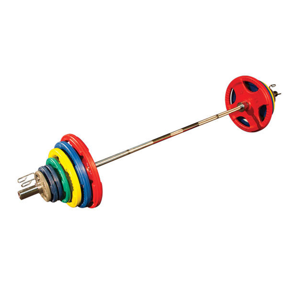 Body Solid Colored Rubber Olympic Weight Set with Bar