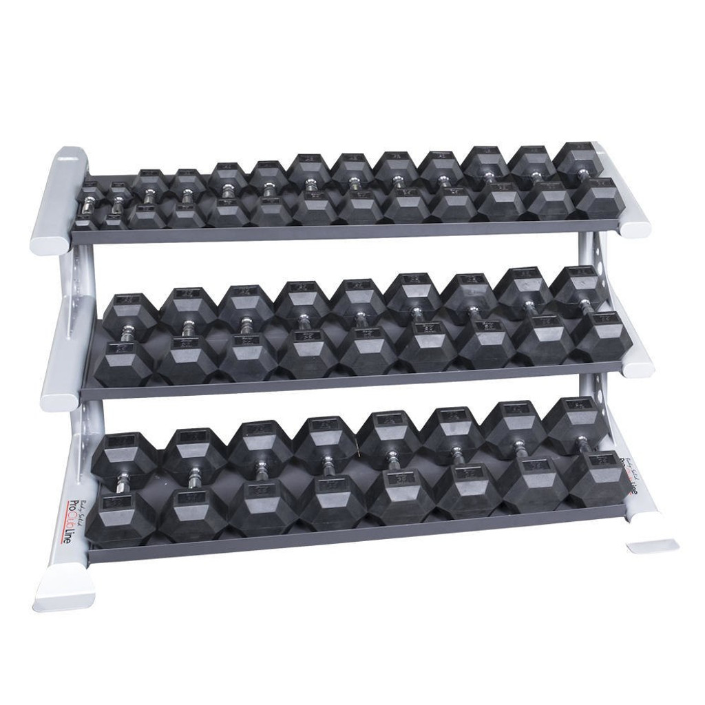 Body Solid Rubberized Hex Weight Set and Rack - 5-75 lb