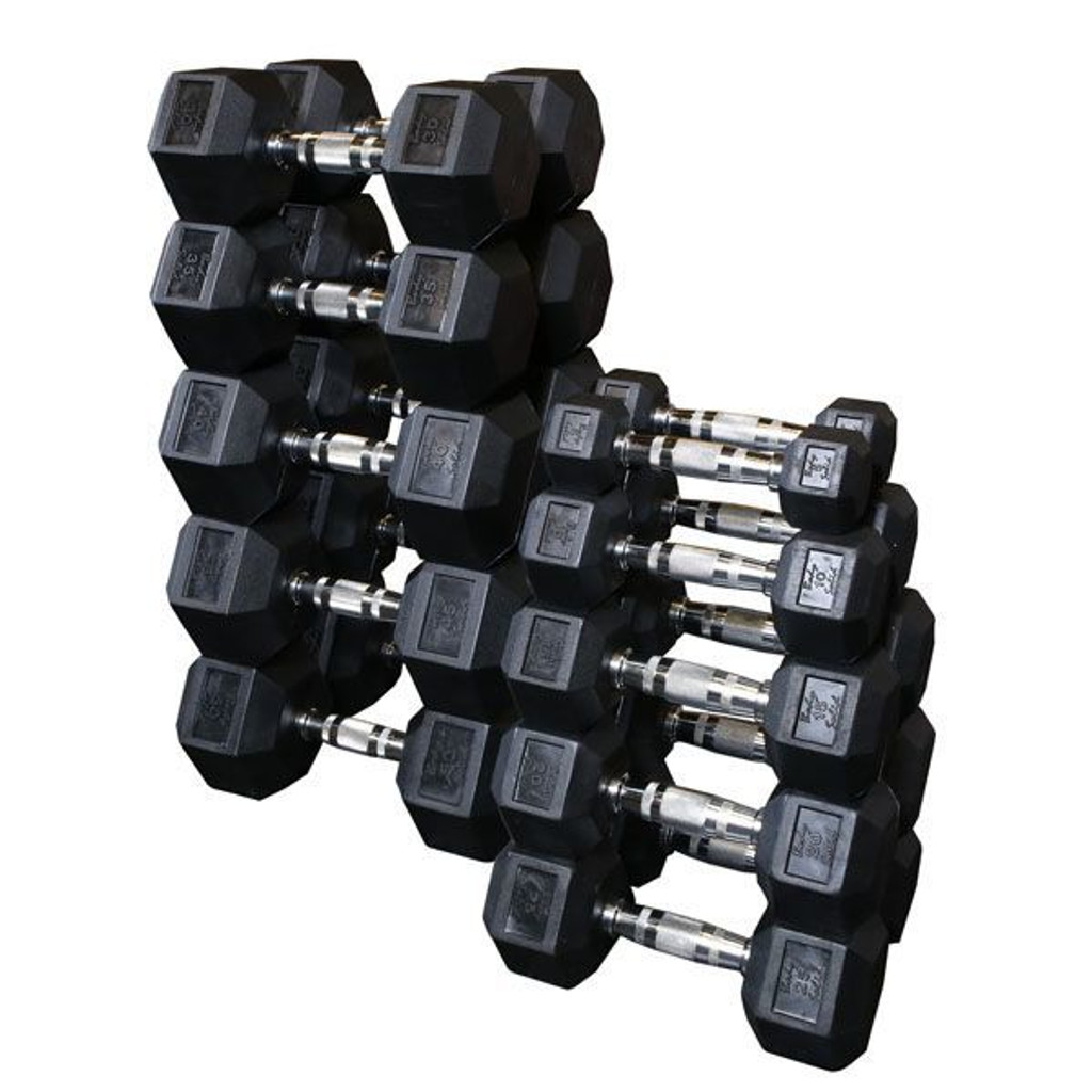 Body Solid 6-Sided Rubber Coated Dumbbells