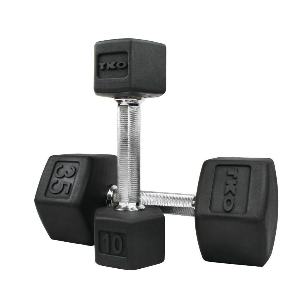 TKO Rubber Coated Hexagon Dumbbells