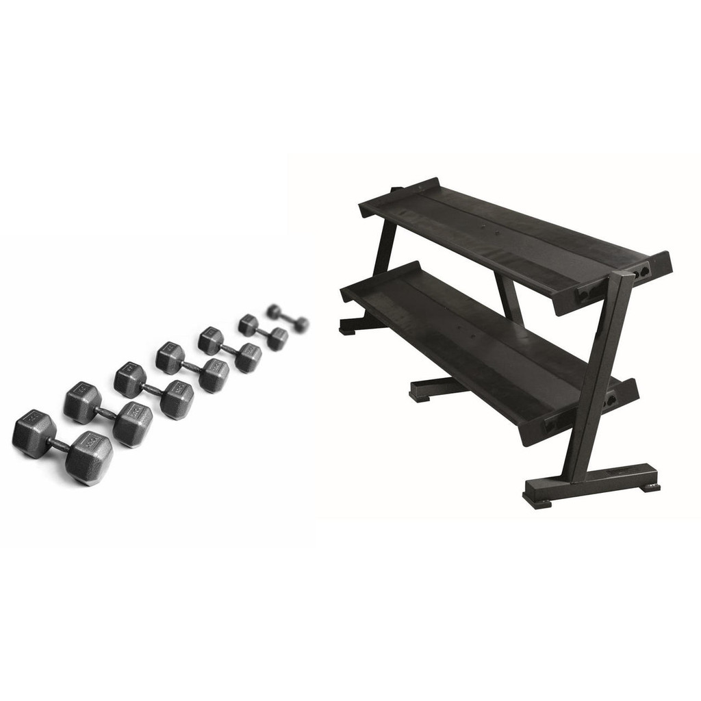 York Hex Head Dumbbell Set with Rack