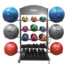 TAG Movable Fitness Equipment/Ball Storage Rack with Wheels
