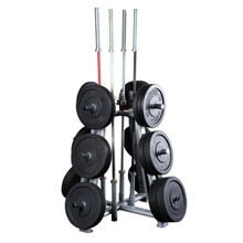 Body Solid Commercial Bumper Weight Storage Tree with Bar Holders