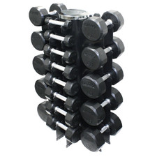 Troy (3-50 lb) Rubber Dumbbell Set w/ Rack