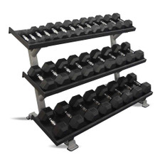 Inflight Fitness 5-75 lb Rubber Dumbbells & Rack