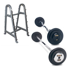 Troy Black Iron Fixed Barbell Set w/ Rack