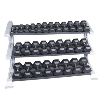 Body Solid 5-75 lb Rubber Hex Dumbbells & Rack