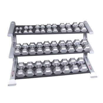 Body Solid 5-75 lb Hex Dumbbell Set & Rack