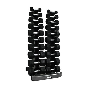 TKO 5-50 lb Rubber Hex Dumbbell Set w/ Rack