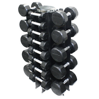 Troy (3-50 lb) Rubber Dumbbell Set w/ Rack