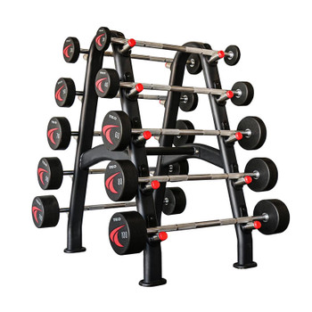 TKO Fixed Urethane Barbell Set w/ Rack