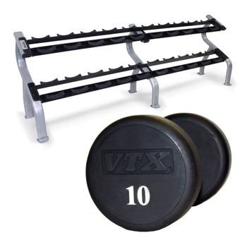 Troy VTX Urethane Coated Dumbbells w/ Rack