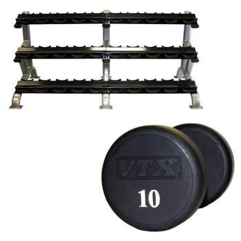 Troy VTX 5-75 lb Urethane Dumbbells & Rack