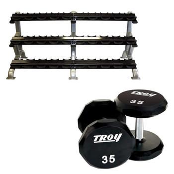 Troy (5-75 lb) Urethane Dumbbells with Rack