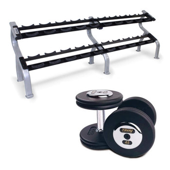 Troy Black Cast Iron Pro Style Dumbbells with Rack