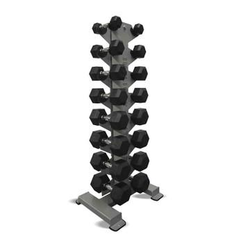 Inflight (5-40 lb) Rubber Hex Dumbbells & Rack