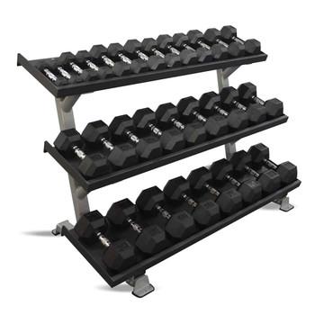 Inflight Fitness 5-75 lb Rubber Dumbbells & Rack